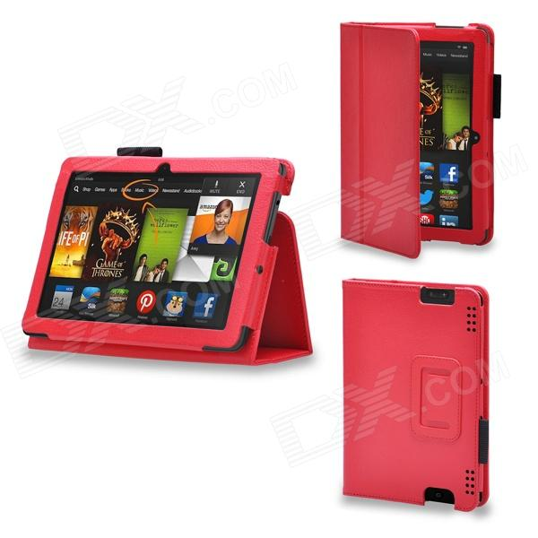 Protective PU Leather Case Cover Stand for Kindle Fire HDX 7 Inch - Red protective pu leather case for kindle fire 7 deep red