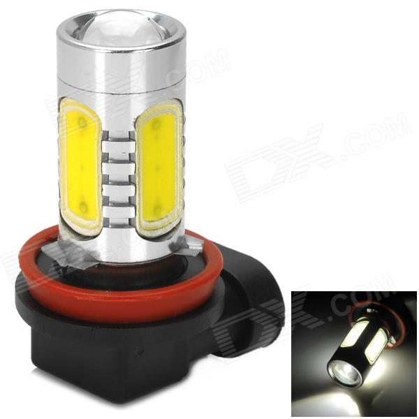 H8 16W 900lm 6500K White Light Car Farol w / 2-Cree XP-E LED + 4 COB - Prata + Amarelo (10 ~ 30V)