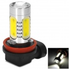 H8 16W 900lm 6500K 2-Cree XP-E + 4-COB LED White Light Car Headlamp - Silver + Yellow (10~30V)