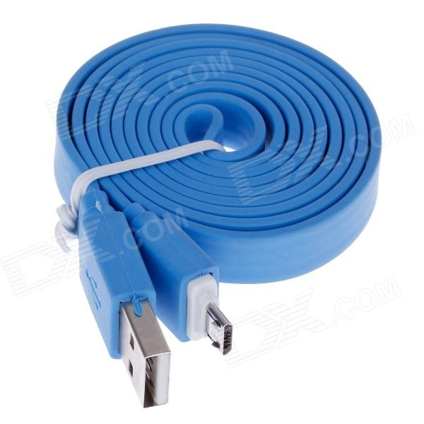 Flat Universal Micro USB Male to USB 2.0 Male Data Sync / Charging Cable - Blue (105cm) обучающие плакаты алфея плакат грибы