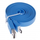 Flat Universal Micro USB Male to USB 2.0 Male Data Sync / Charging Cable - Blue (105cm)