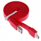 Flat Universal Micro USB Male to USB 2.0 Male Data Sync / Charging Cable - Red (105cm)
