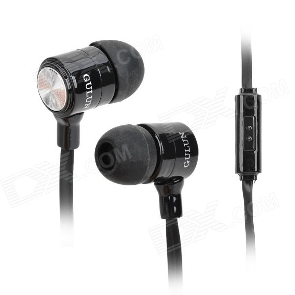 GULUN GL-888 Stylish Universal 3.5mm Jack Wired In-ear Headset w/ Microphone - Silver + Black gulun gl 777 stylish universal 3 5mm jack wired in ear headset w microphone black brown