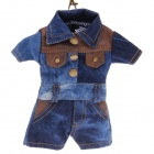 Fashion Denim Jumpsuit Design Cell Phone Pouch Bag w/ Neck Strap - Blue+Brown