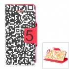Stylish Protective PU Leather Flip Case for iPhone 5c - Black + Red