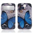 ENKAY PU Leather Case w/ Call Display / Auto-Sleep for Samsung Galaxy S4 i9500 - Blue