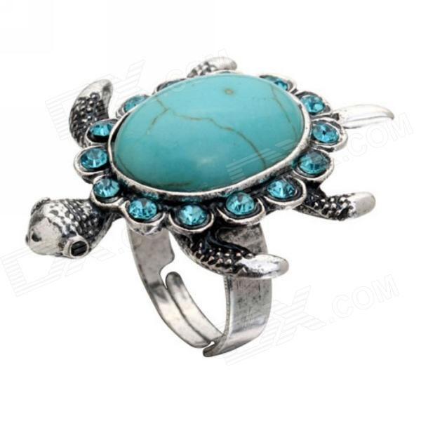 eQute RPEW5C8 Vintage Turquoise Turtle Adjustable Ring with Rhinestone - Blue + Black + Silver