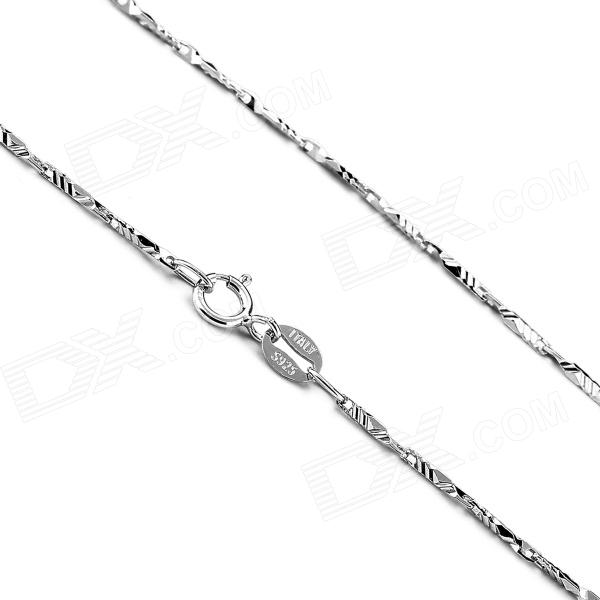 eQute CSIW19S1 S925 Sterling Silver Ripple Seeds Chain Necklace - Silver (16