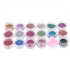 18-in-1 Professional Decorative DIY Nail Art Glitter Set - Multicolored