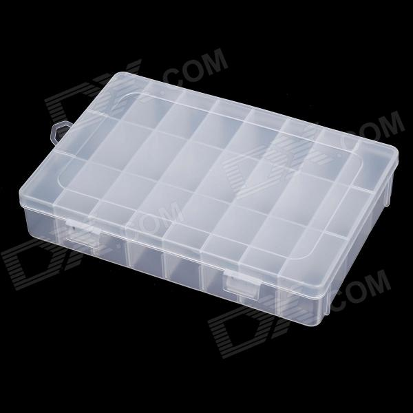 24-Lattice Plastic Nail Art Accessories Storage Box - Transparent multifunction nail art accessories packaging round box display storage box black transparent