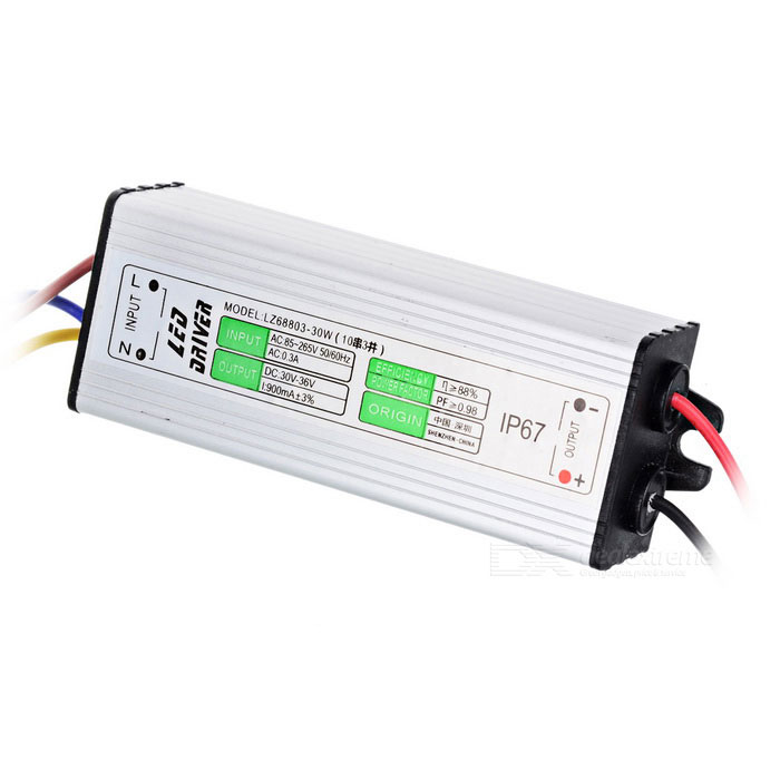 LED-30W Water Resistance 30W External 10S3P LED Driver - Silver + White (90~264V) led driver transformer waterproof outdoor switching power supply ip67 adapter ac170 260v to 5v 12v 24v 36v 30w led strip lamp