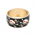 Oil Drop Skull Pattern Wide Zinc Alloy Bracelet w/ Figure - Black