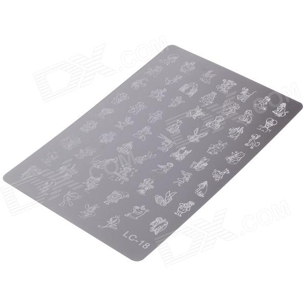 где купить LC-18 60-in-1 Cartoon Style Stainless Steel DIY Nail Polish Art Stamp Plate - Silver по лучшей цене