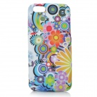 Flowers Pattern Protective Silicone Back Case for Iphone 5C - White + Multi-colored