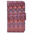 Knitting Pattern Flip-Open PU Leather Stand Case w/ Card Slots for Iphone 4 / 4S - Multicolored