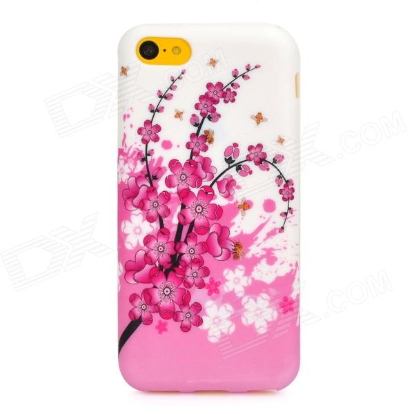 Plum Blossom Flowers Pattern Protective Silicone Back Case for Iphone 5C - White + Pink аксессуар защитное стекло xiaomi redmi note 3 onext eco 43077