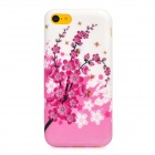 Plum Blossom Flowers Pattern Protective Silicone Back Case for Iphone 5C - White + Pink