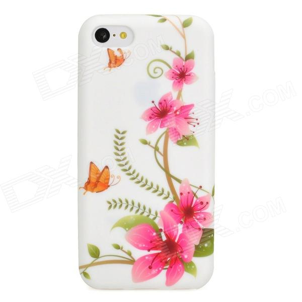 Stylish Flower Pattern Protective Silicone Back Case for Iphone 5C - Pink + White ipega i5056 waterproof protective case for iphone 5 5s 5c pink