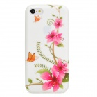 Stylish Flower Pattern Protective Silicone Back Case for Iphone 5C - Pink + White