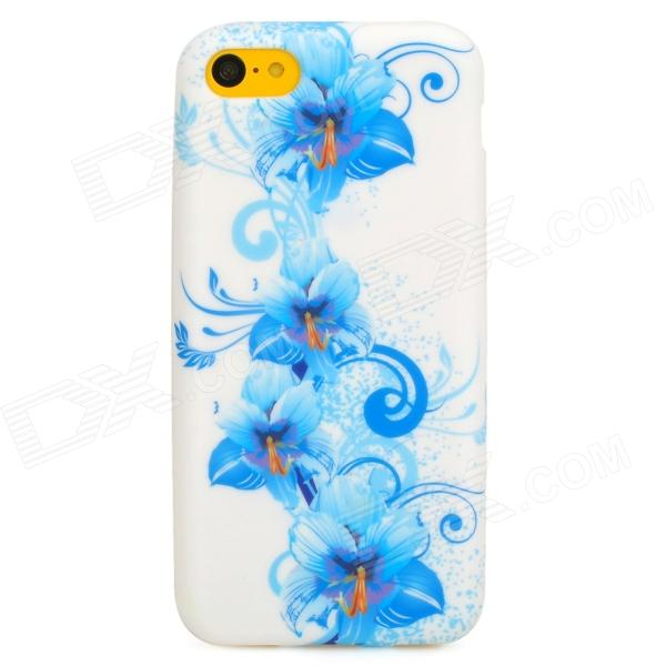 Flowers Pattern Protective Silicone Back Case for Iphone 5C - White + Blue protective matte silicone case for iphone 5 5s dark blue white