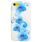 Flowers Pattern Protective Silicone Back Case for Iphone 5C - White + Blue