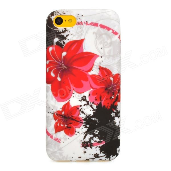 Flowers Pattern Protective Silicone Back Case for Iphone 5C - White + Red + Black girl playing guitar pattern protective back case for iphone 5 white black red