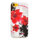 Flowers Pattern Protective Silicone Back Case for Iphone 5C - White + Red + Black
