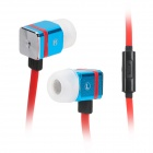 MAIBOSI MA-366 Univeral 3.5 Jack Stylish Square In-ear Headset w/ Microphone - Red + Blue + Black