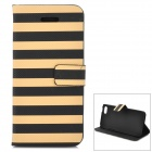 Stripe Pattern Protective PU Leather Case w/ Stand for Iphone 5C - Yellow + Black