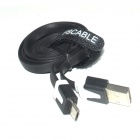FSCABLE MP3 Flat Micro USB Male to USB 2.0 Male Data Sync / Charging Cable for Samsung / HTC - Black