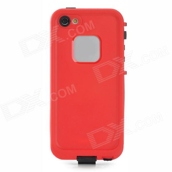 Waterproof Protective Plastic Full Body Case for Iphone 5 - Black + Red ipega pg i6001 waterproof protective pc full body case for iphone 6 black yellow