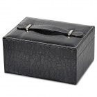 Crocodile Skin Pattern PU Leather 2-deck Jewel Case - Black