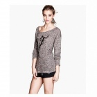 European and American Style Slim Round Neck Long-sleeved Pullover Sweater Bottoming - Brown + Grey