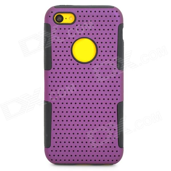 Detachable PC + Silicone Back Case for Iphone 5C - Purple + Black fashionable halter see through patchwork bustier for women