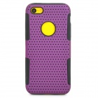 Detachable PC + Silicone Back Case for Iphone 5C - Purple + Black