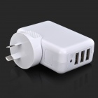 3-Port AC Power Charger Adapter for Iphone / Ipad / Samsung + More - White (AU Plug / AC 100~240VV)