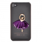 Dancing Girl Protective Plastic Back Case for Iphone 4 / 4S - Translucent Black
