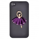 Dancing Girl Protective Plastic Back Case for Iphone 4 / 4S - Black + Purple