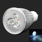 GU10 6W 550lm 6500K 3-LED White Light Spotlight - Silver + White (85~265V)