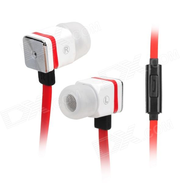 MAIBOSI MA-366 Univeral 3.5 Jack Stylish Square In-ear Headset w/ Microphone - Red + White + Black fshang q8 in ear 3 5mm earphone with microphone for iphone samsung white
