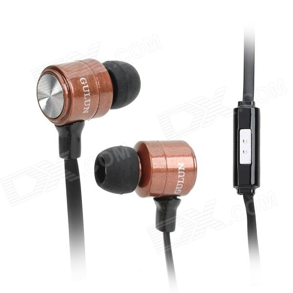 GULUN GL-777 Stylish Universal 3.5mm Jack Wired In-ear Headset w/ Microphone - Black + Brown gulun gl 777 stylish universal 3 5mm jack wired in ear headset w microphone black brown