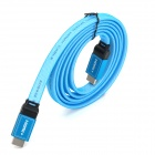 HDMI AM/AM Durable Aluminum Shell Head HDMI Male to Male Video Flat Cable - Blue + Black + White