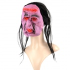 KB-01 Halloween Scary Plastic Face Mask w/ Hair - Black + Purple + Red