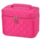 Bodan 219# Convenient Stylish Prismatic Pattern Cosmetic Bag w/ Handle - Deep Pink