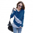 QiLi DXH-A02-3007 Stylish Women's Diagonal Stripes Sweater - Blue + Grey (Size-L)