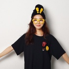Yirenmiaomiao YRMM020 Women's Warm Wool Cap Knitted Rabbit Ears Exclamation - Black