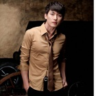 Stylish Men's Slim Fit Shirt - Khaki (Size-XL)