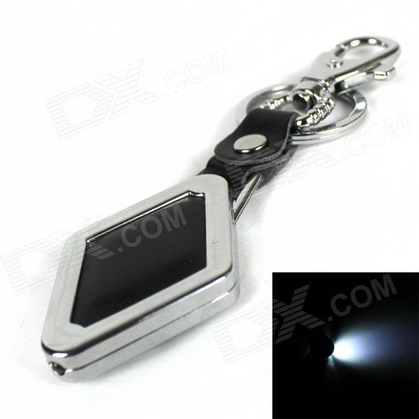 Zinc Alloy 1-LED White Light Keychain - Black (1 x CR2032)