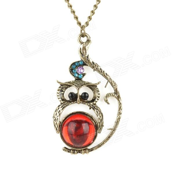 FGSL-1 Cute Owl Style Crystal Necklace - Red + Bronze