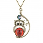 Cute Owl Style Crystal Necklace - Red + Bronze